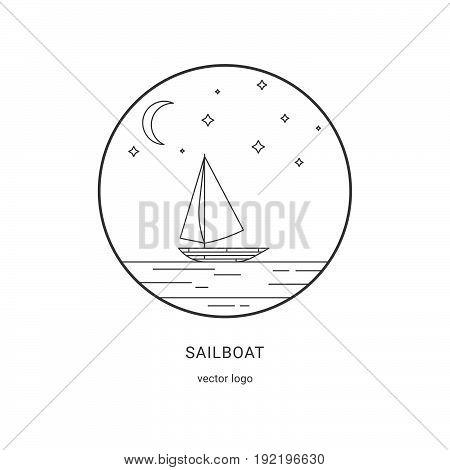 Sailboat Vector Logo. Flat Line Landscape Illustration.