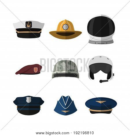 Hats and helmets. Headgear of soldier, aviator, policeman and captain. Icon of cap in flat style. Vector illustration