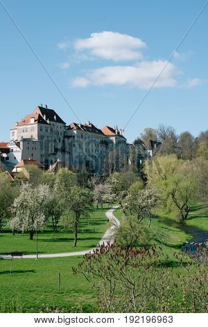 View of town Cesky Krumlov, Czech Republic. Cesky Krumlov Castle