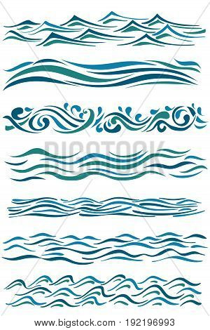 set of wavy borders. hand drawn abstract waves on white. vector illustration