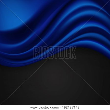 abstract blue background with folding texture on blue. vector illustration