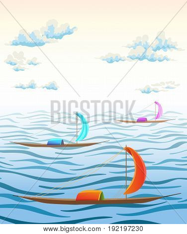 landscape with sea waves clouds and ancient boats. vector illustration