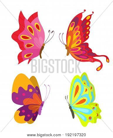 cartoon flying butterflies set isolated on white. vector illustration