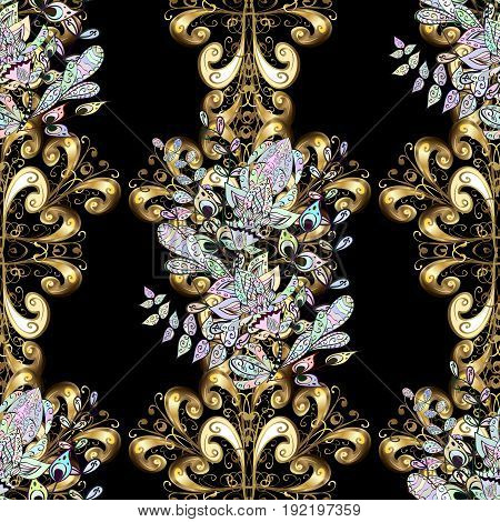 Gold Sketch on texture background. Damask seamless pattern repeating background. Gold black floral ornament in baroque style. Golden element on black background.