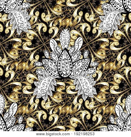 Seamless abstract background. Oriental vector classic black and golden pattern with white doodles.