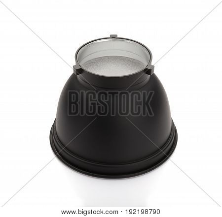 standard reflector for stuido flash on white background no logo or trademark