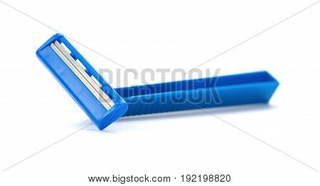 blue disposable shaver on a white background
