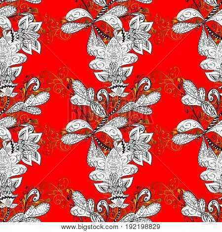Seamless vintage pattern on red background with golden elements and with white doodles. Christmas snowflake new year.