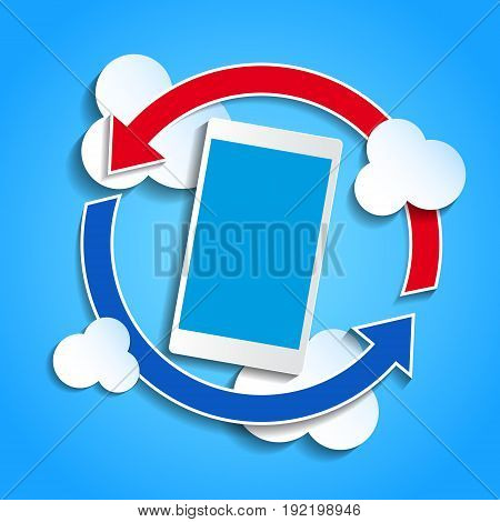 Cloud computing concept. Smartphone synchronizing data with the