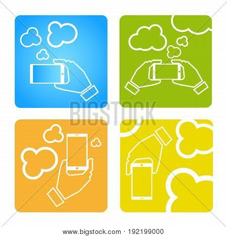 Upload data concept. Upload photo concept. Smart phone synchronizing data with the