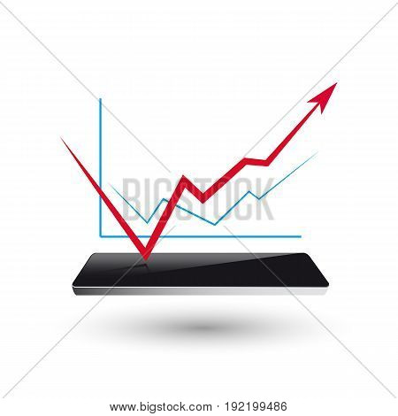 smart watch new technology electronic device with apps icons flat design illustration. graph busines market
