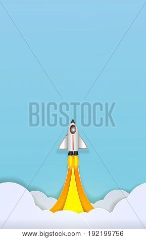Spacecraft takes off into space paper art cute vector paper cut illustration