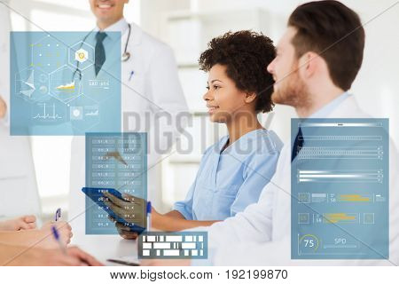 medicine, healthcare, technology and people concept - group of happy doctors with tablet pc at hospital