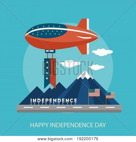 Happy Independence Day Conceptual Design | Set of great flat design illustration concepts for region, state, usa, independence and much more.