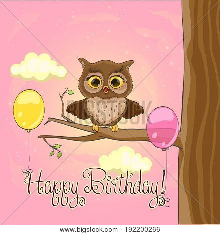 Cute owl balloons pink sky and clouds. Happy birthday greeting cartoon template. vector