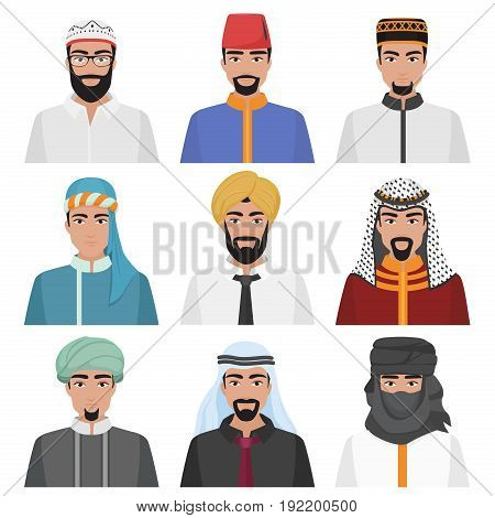 Middle Eastern Men avatar set. Arabian muslim male face collection. Vector illustration