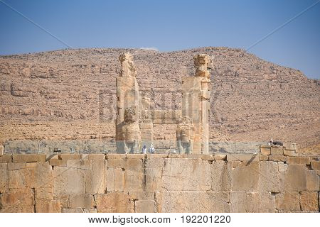Ruins gate of Persepolis (UNESCO World heritage sites) ancient Persian city and the ceremonial capital of the Achaemenid Empire situated 60 km northeast of Shiraz city in Fars Province Iran