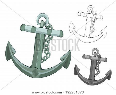 anchor with chain. cartoon vector illustration. grayscale and coloring versions included