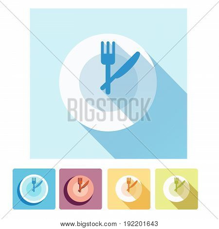Plate dish with forks and knifes icons. Crosswise cutlery symbol. Dining etiquette. Circle concept web buttons. Vector.Time to eat.