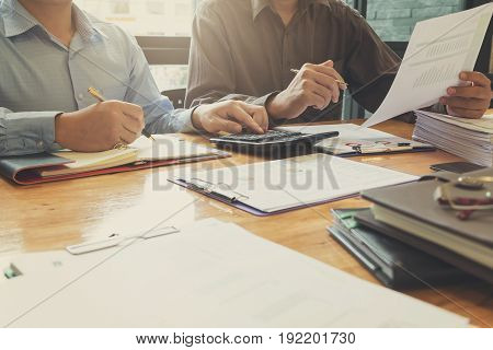 Business Concept Of Office Working With Analysis Chart, Vintage Effect