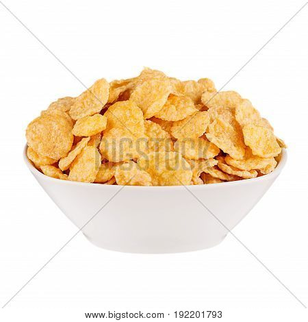 Golden corn flakes in white bowl isolated on white backgriund. Cereals.
