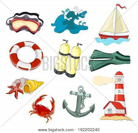 set of objects for diving and travel. cartoon vector illustration