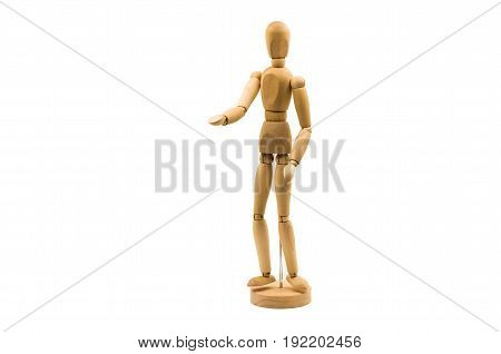 wooden man puppet stand on white background stratching a hand