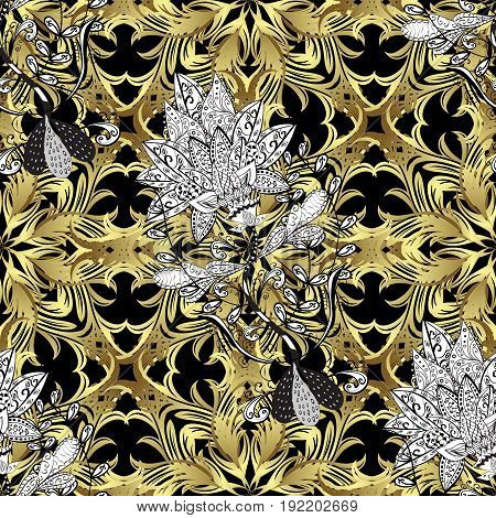 Vector illustration. Damask seamless pattern for design. Vector seamless pattern on black background with golden elements and with white doodles.