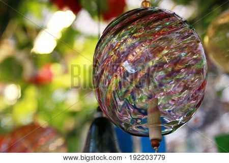 Scenery of colorful wind chimes made of Japanese glass