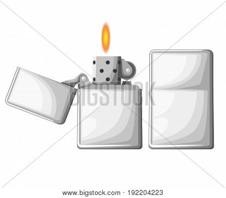 Cigarette Lighter Vector Illustration Of Lighter Mockup In 2 Positions Opened And Closed. Add Your C