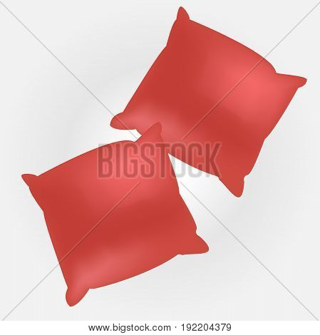 Vector illustration of two red empty pillows for your design