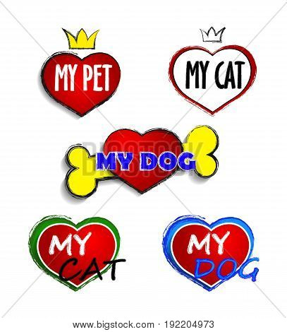 I Love My Dog I Love My pet I Love My Cat - set icons