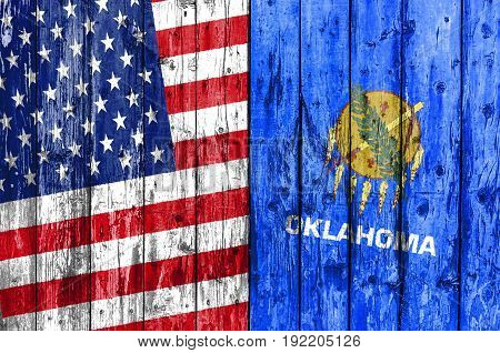 Flag of US and Oklahoma painted on wooden frame