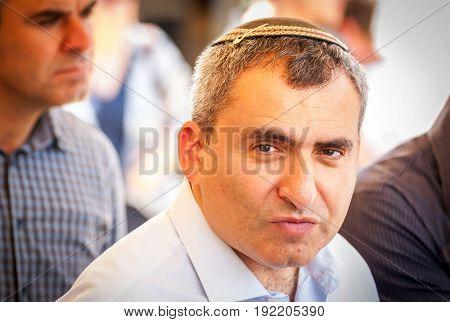 JERUSALEM, ISRAEL. June 20, 2017. Israeli politician Ze'ev (Zeev) Elkin, ecology minister and Jerusalem affairs minister, speaking to the Israeli Russian speaking journalists in the City of David.