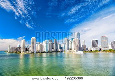 Aerial view of Miami waterfront skyline downtown at sunny day. Florida
