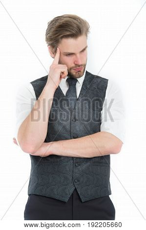 Man Or Thinking Gentleman In Waistcoat And Tie