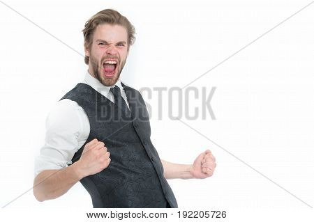 Elegant Bearded Successful Business Man In Waistcoat Isolated On White