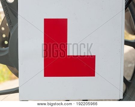 Big Red L On White Background Learner's Driving Sign