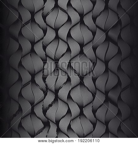 Dark texture.Black background. Black waves. Black pattern.