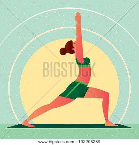 Girl In Yoga Warrior Pose Or Virabhadrasana