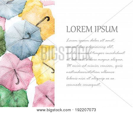 Watercolor painting of colorful umbrellas background with place for text.