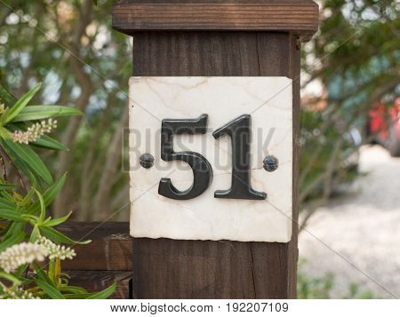 Close Up Of A House Number 51