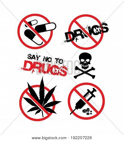 anti drugs day that say no to drugs icon vector