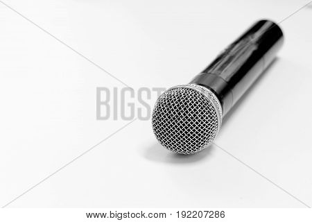 black wireless of microphone on white background