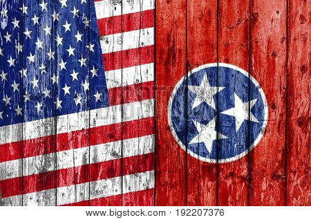 Flag of US and Tennessee painted on wooden frame