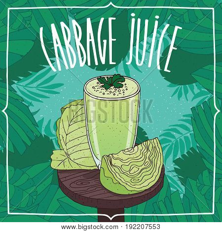 Healthy Fresh Green Cabbage Juice With Vegetables
