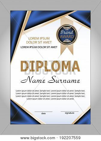 Template diploma or certificate. Winning the competition. Reward. Vector illustration.