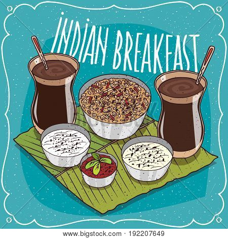 Indian Breakfast For Two Persons With Muesli