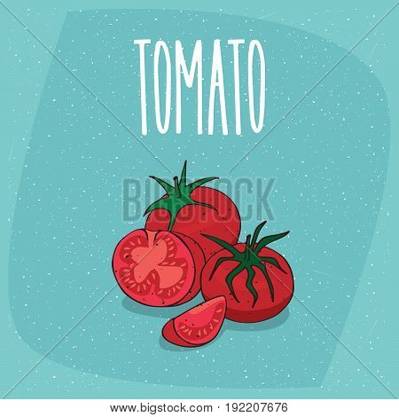 Isolated Ripe Fruit Tomato Vegetable Whole And Cut