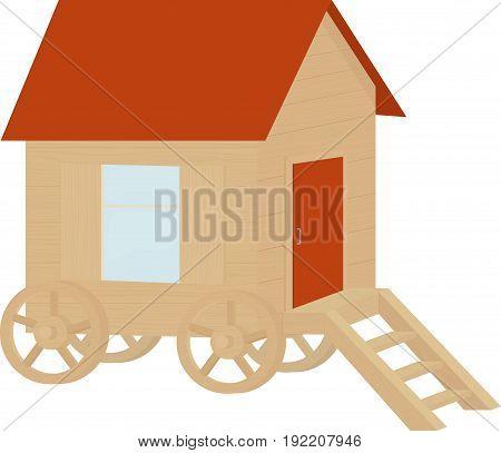wooden cartooon caravan wagon, house on wheels isolated on white